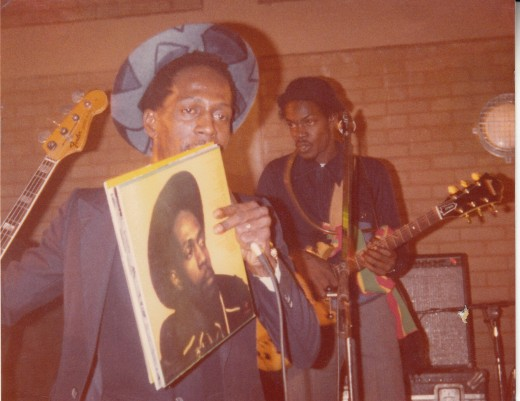 On Stage:    The Late Gregory Isaacs Pickett's Lock, Edmonton, North London (circa 1983) Together with Roots Radics Band Member