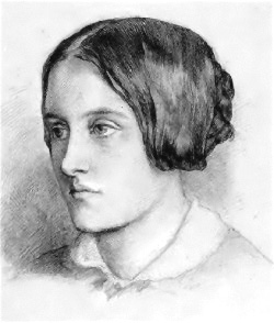 """""""Portrait of Christina Rossetti; head and shoulders, turned slightly to left, hair drawn up into a plaited chignon.""""   circa 1848"""