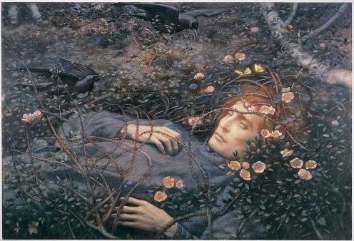 """""""Oh, What's That in the Hollow, so Pale I Quake to Follow?"""" by Pre-Raphaelite Artist Edward Robert Hughes who was inspired by Christina Rossetti's poem """"Amor Mundi"""""""