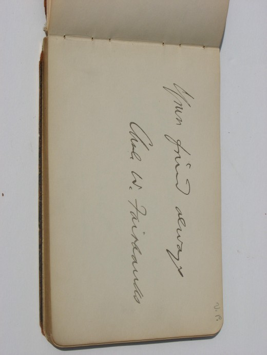 Vice President Fairbanks autograph