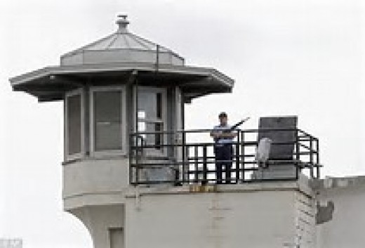 The guard towers have officers with scope rifles and they can shoot with pinpoint accuracy.