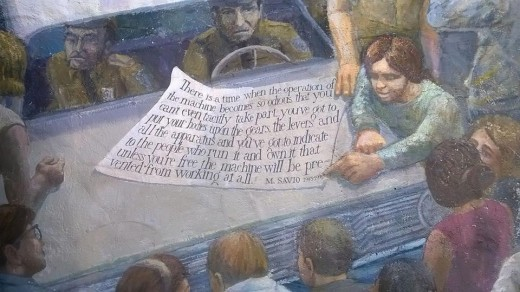 Part of a mural painted in 1976 depicting the movements that defined Berkeley in the 60's  and the struggle accompanying the creation of People's Park