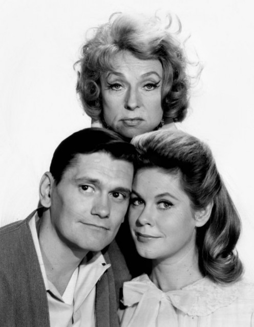 "(From left, Dick York ""Darrin Stephens,"" Agnes Moorehead  ""Endora,""  and  Elizabeth ""Samantha Stephens"" Montgomery."