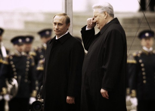 Boris Yeltsin and Vladamir Putin