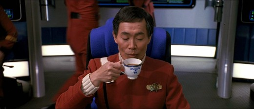 Sulu enjoys a nice cup of tea before all hell breaks loose.