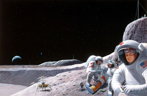 NASA illustration of a medical emergency at a lunar colony.
