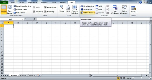 MS Excel: Freeze Panes Option.