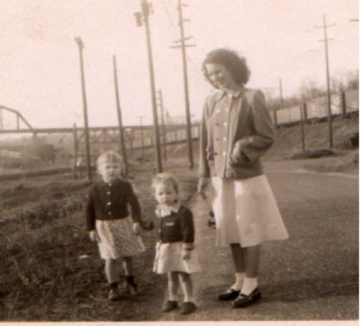 1949, Mama with Connie (left) and Sandra (right) in Perryville, Maryland.