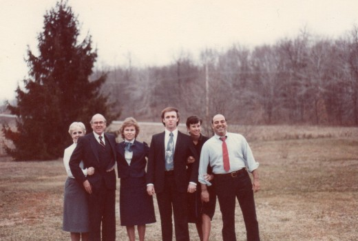 Left to right - Lola, Mama's sister-in-law, Mama's brother, Bobby, Connie, Me, Nancy and her husband, James.  1984, after Phillip's funeral.