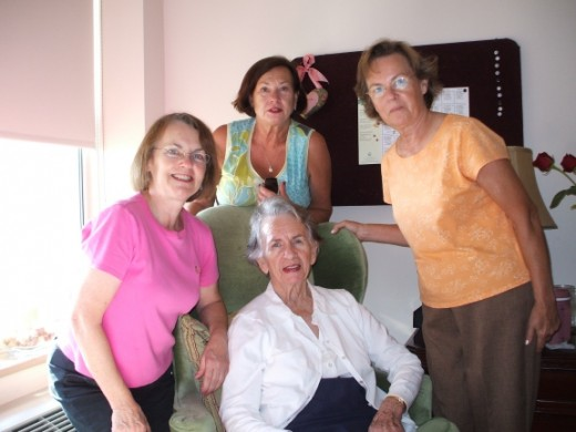 Sandra, Nancy and Connie visiting Mama early in her journey.  Mama could still talk about past memories.