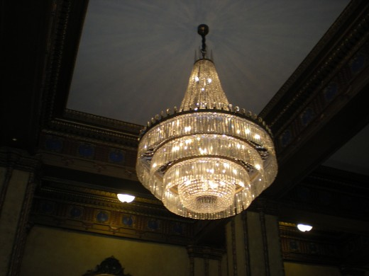 Crystal chandeliers.