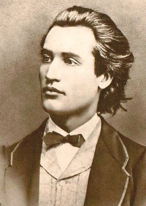 Portrait of Mihai Eminescu - photograph taken by Jan Tomas (1841-1912) in Prague, 1869