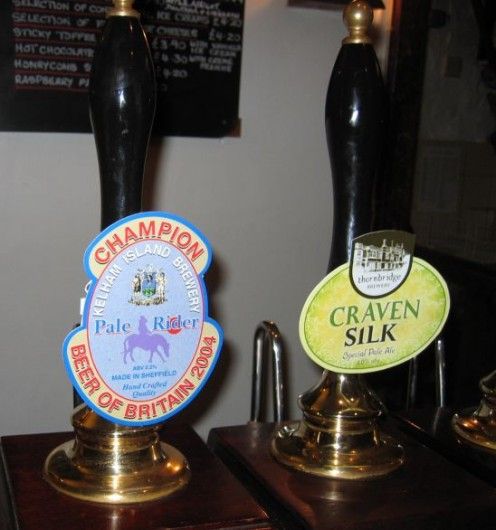Hand Pumps for Beer in a British Pub