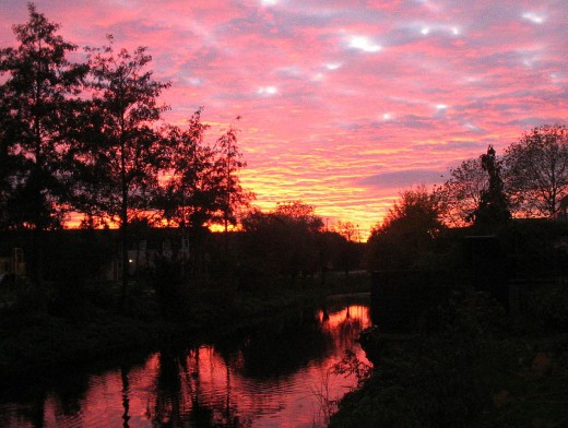 Avondrood in Delft, Holland.