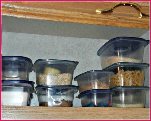 Using lidded, plastic, stacking containers such as those sold by Gladware is the best way to store dry foods.