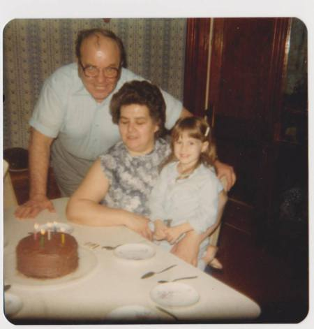 Gpa and Gma Smith with Me on my 5th Birthday
