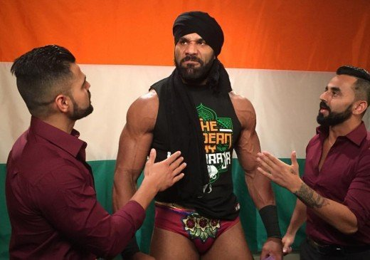 Jinder Mahal and the Singh Brothers prepare for 'Punjabi Prison'. Photo: WWE