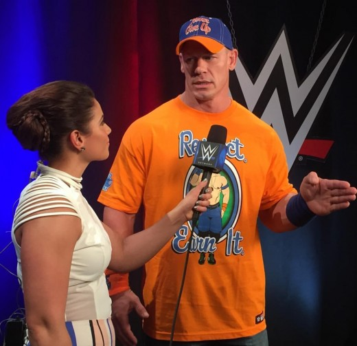 Dasha Fuentes interviews John Cena. Photo: WWE