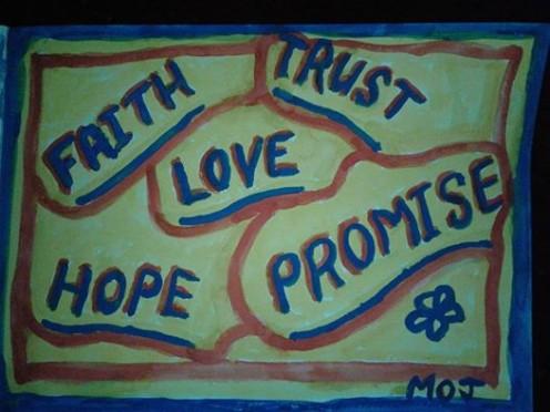 Faith, trust, love, hope, promise
