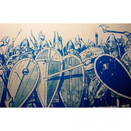 The shieldwall threw back attacks one after another, although William found a ruse to weaken its strength