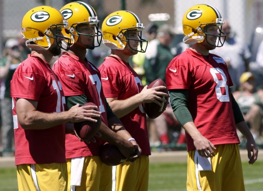 Packers QBs at Training Camp:Aaron Rodgers, Brett Hundley, Joe Callahan, and Taysom Hill