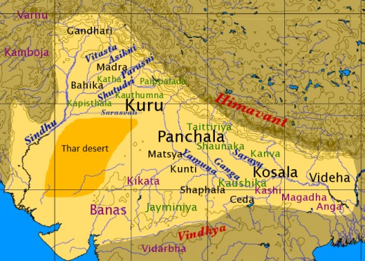 Map of North India in the late Vedic period