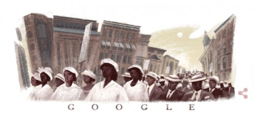Google Doodle for July 28, 2017 Celebrates the 100th Anniversary of The Silent March & Implores Web Surfers to Explore America's History of Racial Injustice