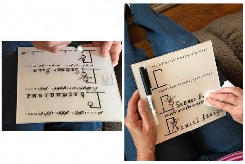 The hard surface makes it easy to write on. The played game is easy to wipe off with a paper towel and begin again.