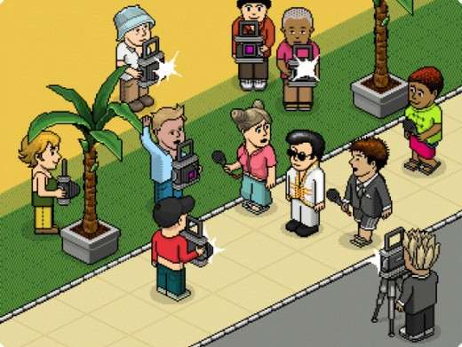 Here is a bunch of players in Habbo Hotel, a pixel graphic based chat game.