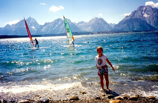 Windsurfing on Jackson Lake in Wyoming