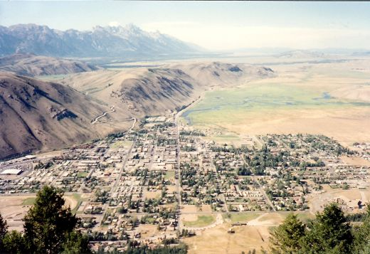 Good view from the top of Snow King Mountain overlooking the town of Jackson Hole. Notice the road leading up the butte where Spring Creek Ranch is located?
