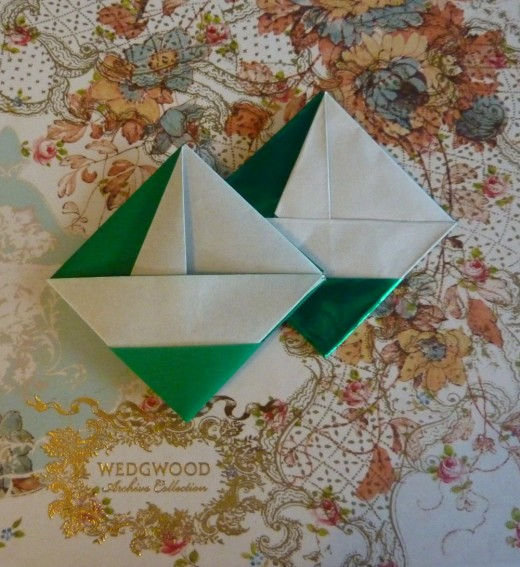 Little Origami Sailboat Square Envelopes design paper folded