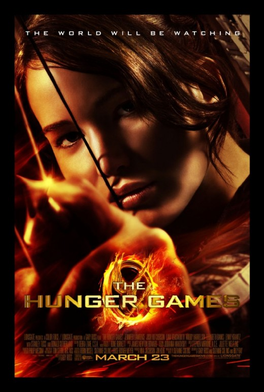 Katniss Everdeen shooting an arrow on the movie cover