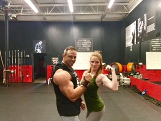 My husband and I at our gym. Learning to love ourselves again. Learning how to be happy and healthy WITHOUT diets.