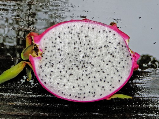 Interior view of dragonfruit.