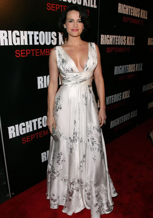 Carla Gugino in a pretty low-cut evening gown.