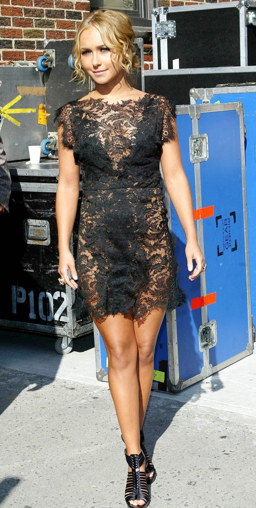 Hayden Panettiere in a black lace, short mini evening dress. Young starlets can pull off this look.