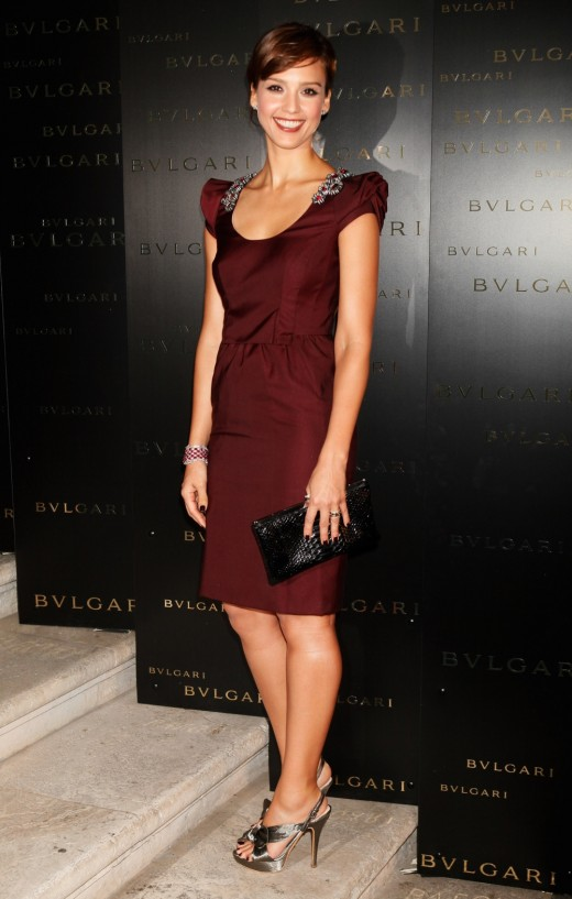 Jessica Alba gets it right in this photo. Her dress, the color and length are perfect for her.