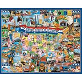 White Mountain Puzzles United States of America - 1000 Piece Jigsaw Puzzle - Puzzle image is from amazon.com.
