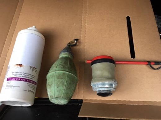 left to right: ready to use bottle, squeeze bulb and bellows duster