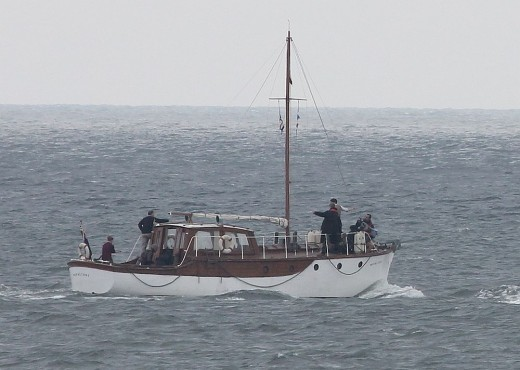 "The boat used as the setting for the English Channel venue, with its ""crew""."