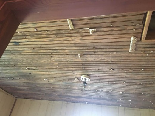 Beadboard ceilings were found underneath the tile.