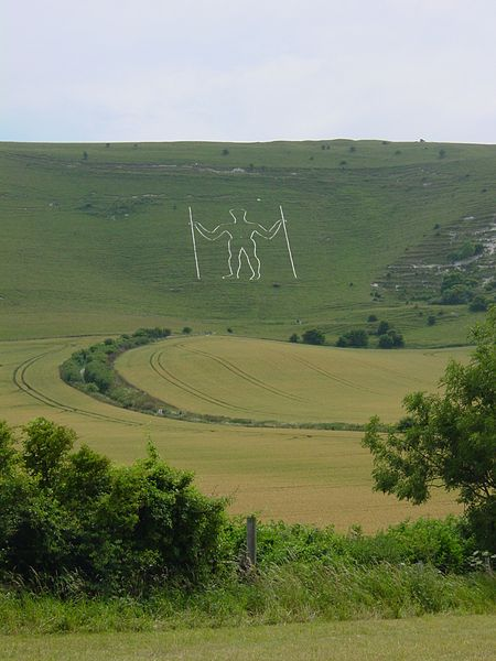 Long Man of Wilmington, Sussex.  Chalk picture.