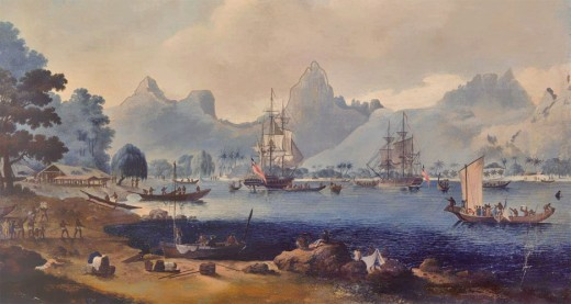 The fleet of Captain cook anchored in Tahiti