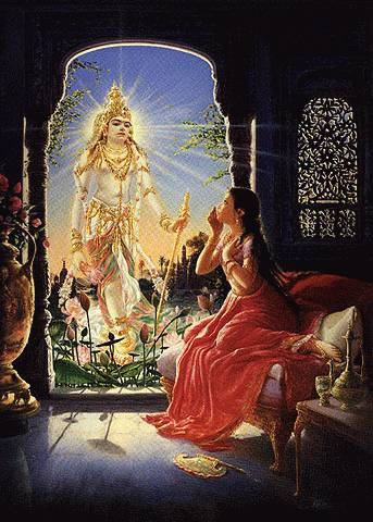 Kunti, calling upon Surya Deva