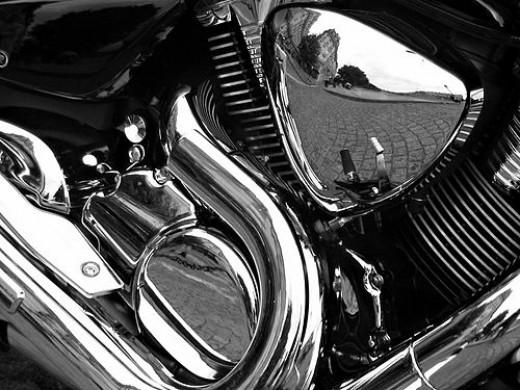 Decorative chrome plating on a motorcycle