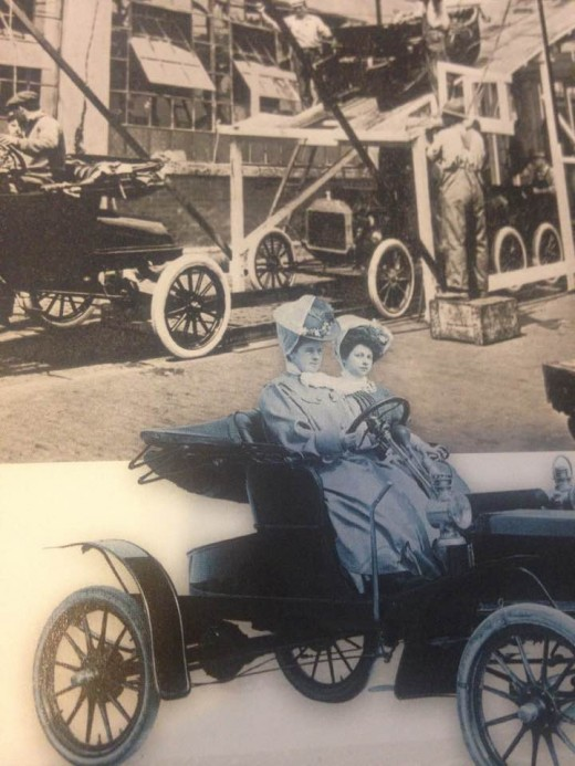 Ford Motor Company and wife of Henry Ford at the wheel