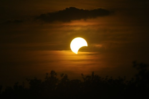 The Sun is 400 times the diameter of the Moon...but 400 times the distance