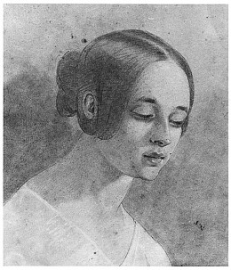 A drawing of Virginia Clemm Poe, Poe's beloved wife who died in 1842.