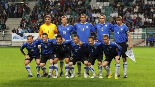 Estonia's starting lineup pose ahead of a friendly match against Ukraine on Oct. 11, 2011. Despite losing 2-0, Estonia clinched a playoff berth after Serbia lost in Slovenia in a Euro 2012 qualifier.